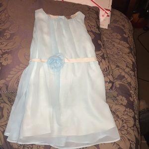 Light blue sheer overlay dress w/ rosette belt